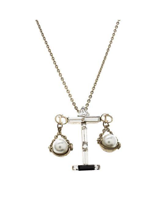 Dior - Metallic Tell Me Libra Faux Pear Tone Pendant Necklace - Lyst