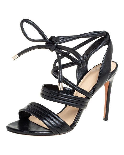 Alexandre Birman Black Leather Aurora Ankle Wrap Sandals