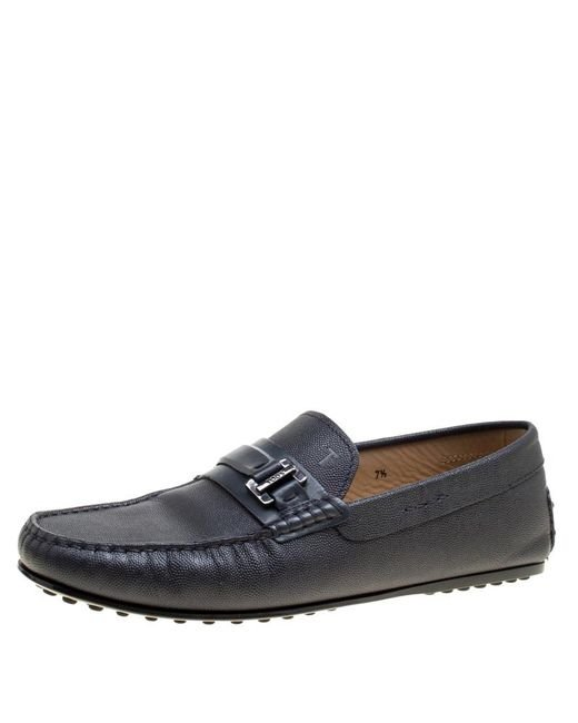 dbfb74f1ac6 Tod s - Blue Leather City Gommino Buckle Detail Loafers Size 41.5 for Men -  Lyst ...