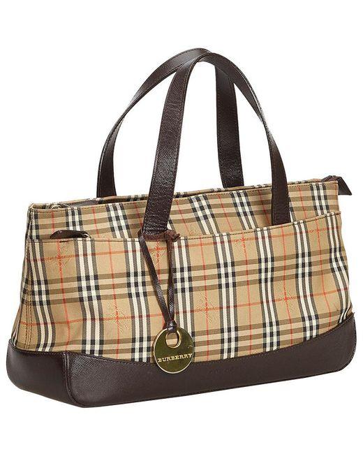 a2a2706a7d00 ... Burberry - Beige Brown Plaid Canvas Tote Bag - Lyst ...