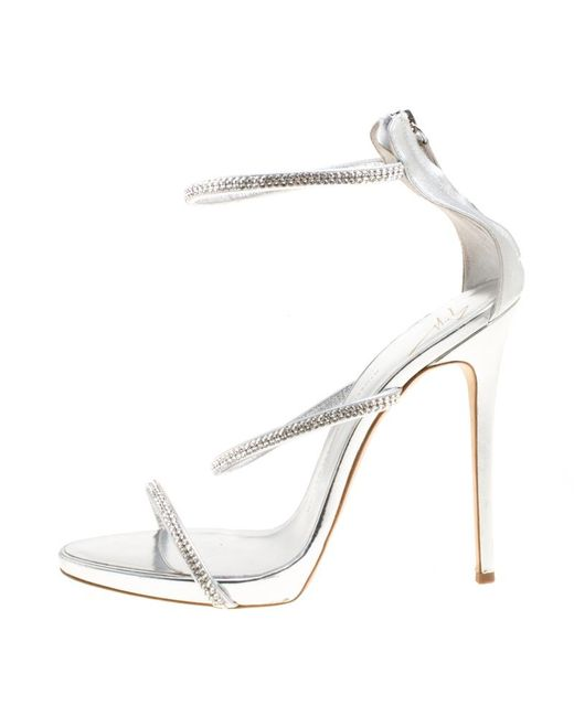 7bc9a39c8d6f3 ... Giuseppe Zanotti - Metallic Leather Crystal Embellished Harmony Ankle  Strap Sandals - Lyst ...