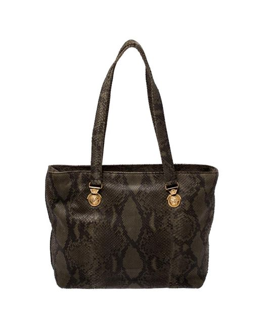 Versace Green Python Leather Tote