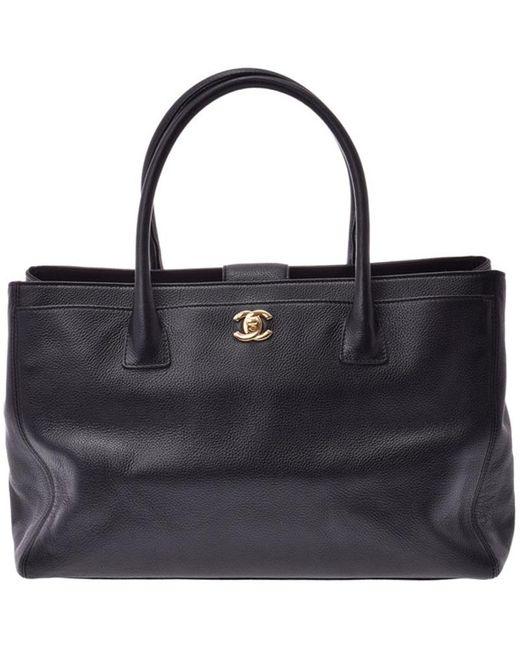 Chanel Black Caviar Leather Executive Tote Bag