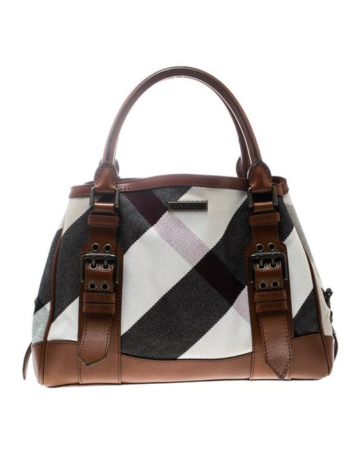 Lyst - Burberry  brown Canvas And Leather Mega Check Tote in Brown 5a194e9655