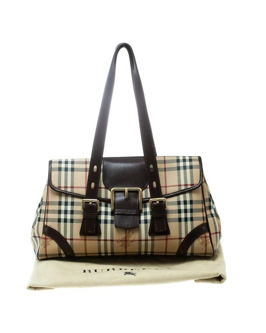 ... Burberry - Natural  brown Haymarket Check Canvas And Leather Satchel -  Lyst ... 435f41d96e