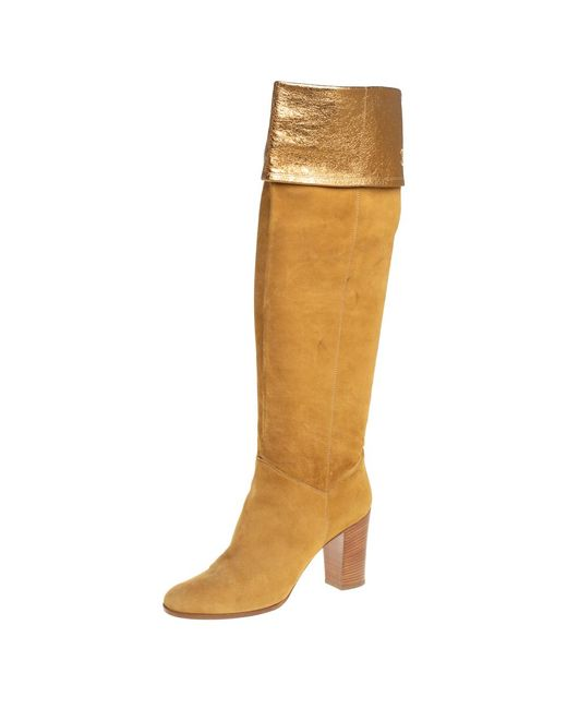 Chanel Metallic Vintage Gold Suede Fold Cc Knee Length Boots