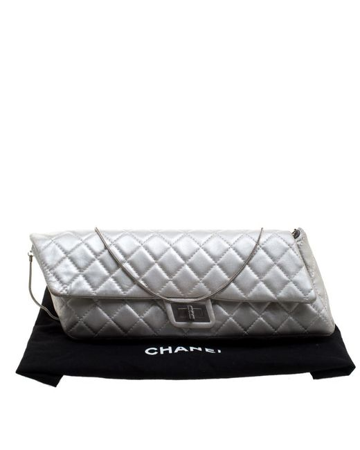 c999607289cd ... Chanel - Metallic Silver Quilted Leather Reissue Chain Clutch - Lyst ...