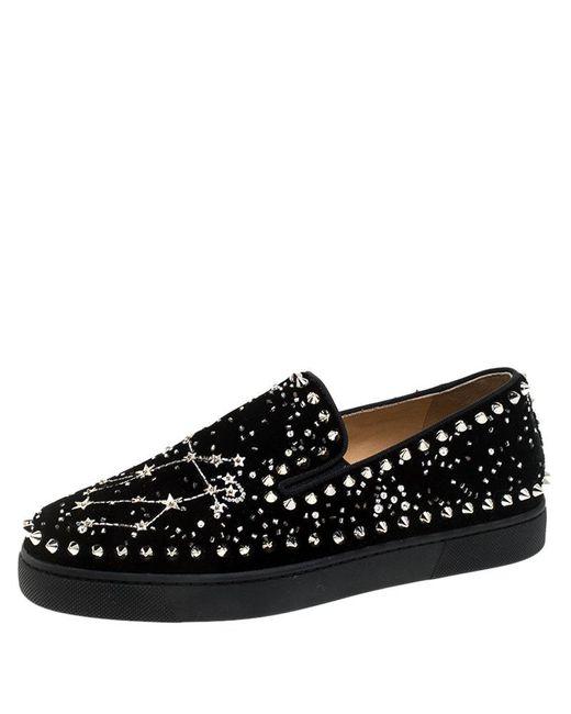 Christian Louboutin Black Velvet Spike Embellished Slip On Sneakers