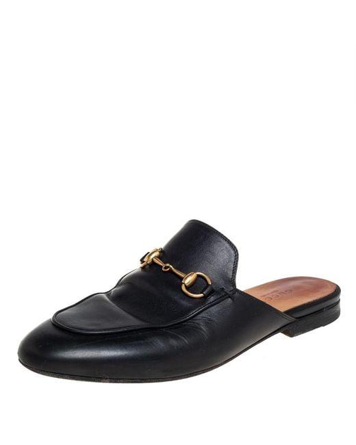 Gucci Black Leather Princetown Horsebit Mules