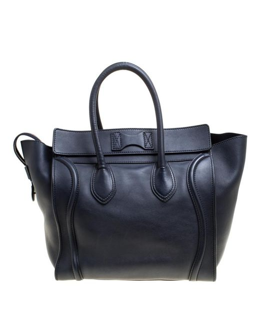 5f253a90e7 Lyst - Céline Leather Mini Luggage Tote in Blue - Save ...