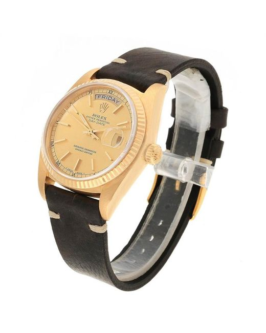 Metallic Champagne 18k Yellow Gold And Leather President Day Date 18038 Mens Wristwatch 36mm
