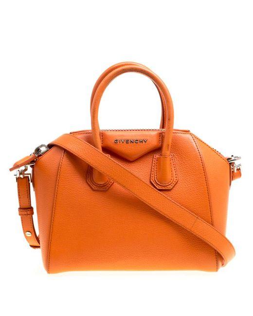 Givenchy - Orange Leather Mini Antigona Satchel - Lyst