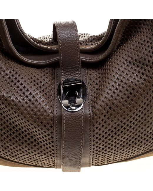 ... Burberry - Brown Khaki Perforated Leather And Suede Bartow Hobo - Lyst  ... 04903f81a6181