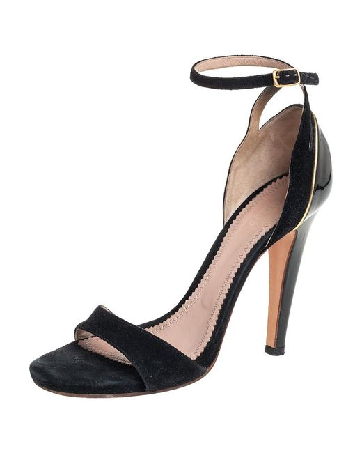 Chloé Chloé Black Suede And Patent Leather Ankle Strap Sandals