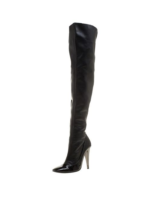 Giuseppe Zanotti Black Leather Knee High Boots Size 38