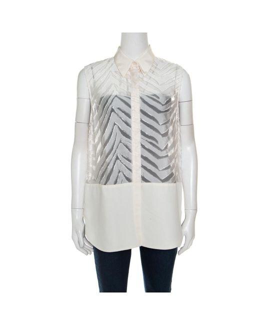 3.1 Phillip Lim - Off White Zig Zag Fil Coupe Sleeveless Shirt M - Lyst
