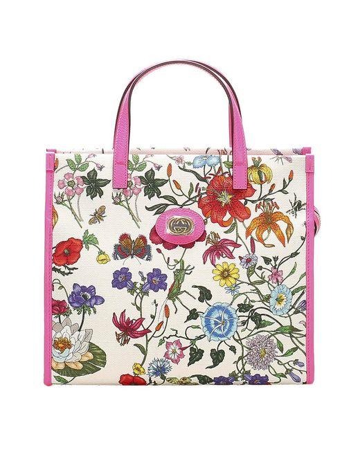 Gucci Multicolor Flora Canvas Tote Bag