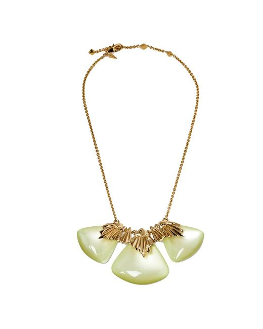 Alexis Bittar Metallic Lucite Crystal Gold Tone Necklace