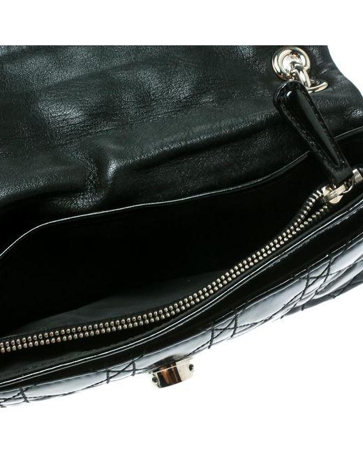 1d5cceaf2b26 ... Dior - Black Cannage Patent Leather Rendezvous Shoulder Bag - Lyst ...