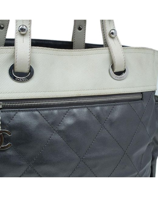 0f7d6ef7c56f ... Chanel - Metallic Grey Coated Canvas Large Quilted Paris Biarritz Tote  - Lyst ...