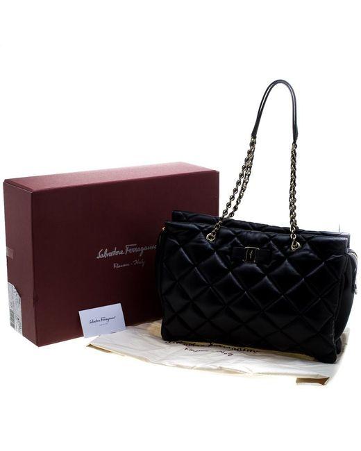 eb1bcb08c2 ... Ferragamo - Black Quilted Leather Ginette Chain Shoulder Bag - Lyst ...