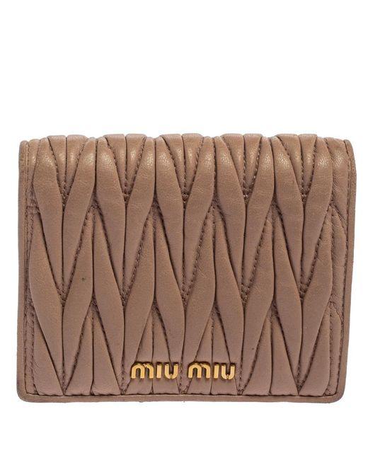 Miu Miu Natural Beige Matelasse Leather Flap Compact Wallet