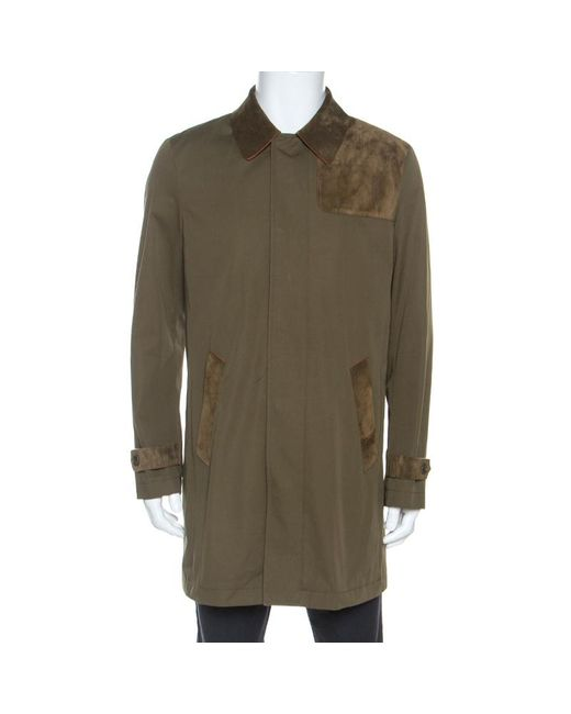 Etro Military Green Cotton Leather Collared Trench Coat L for men