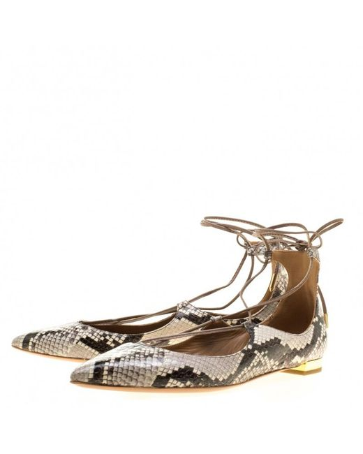 3421b8796 ... Aquazzura - Gray Two Tone Snake Embossed Leather Christy Lace Up  Pointed Toe Flats Size 38 ...