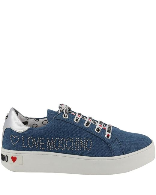 Moschino Love Denim Blue Fabric Platform Sneakers Size 40