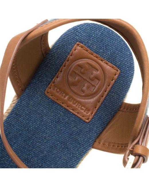 b90575a4d25 Women's Blue Denim Shaw Espadrille Wedge Sandals Size 41