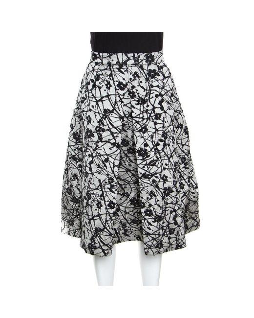CH by Carolina Herrera Black Monochrome Floral Patterned Brocade Flared Skirt M