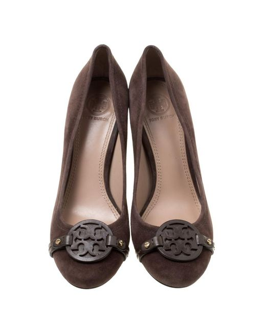 09c987612a7e ... Tory Burch - Brown Suede Mini Miller Round Toe Pumps - Lyst ...