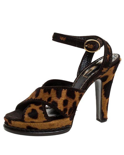 Saint Laurent Brown Leopard Print Calf Hair Platform Sandals