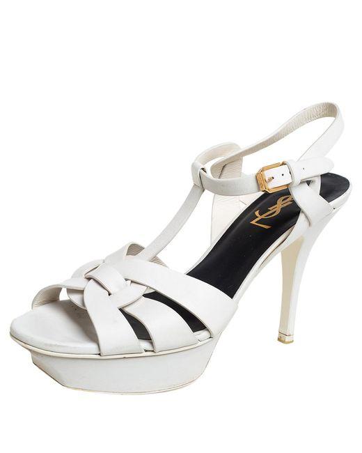 Saint Laurent Off White Leather Tribute Ankle Strap Sandals
