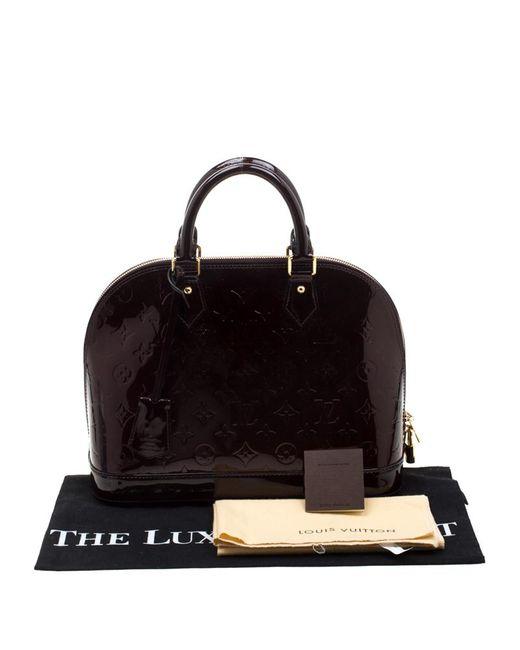 Louis Vuitton Leather Amarante Monogram Vernis Alma Pm Bag In Burgundy Black Save 16 Lyst