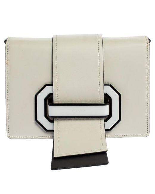 Prada White/black Leather Plex Ribbon Shoulder Bag