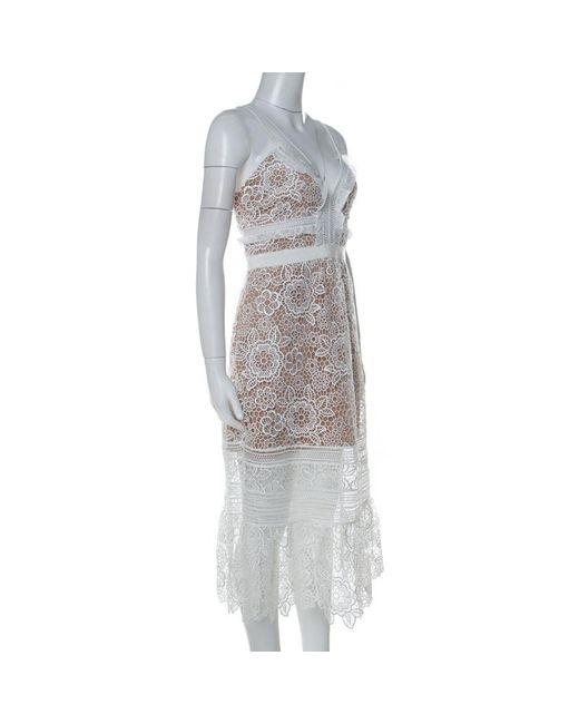 Self Portrait White Guipure Lace Sheer Ruffled Hem Floral