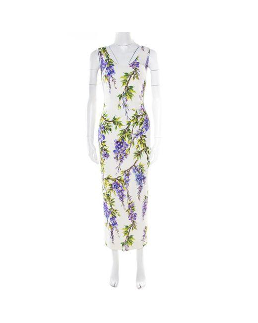 c4be5256 Dolce & Gabbana - Dolce & Gabbana Off White Wisteria Printed Silk Charmeuse  Sleeveless Sheath Dress ...