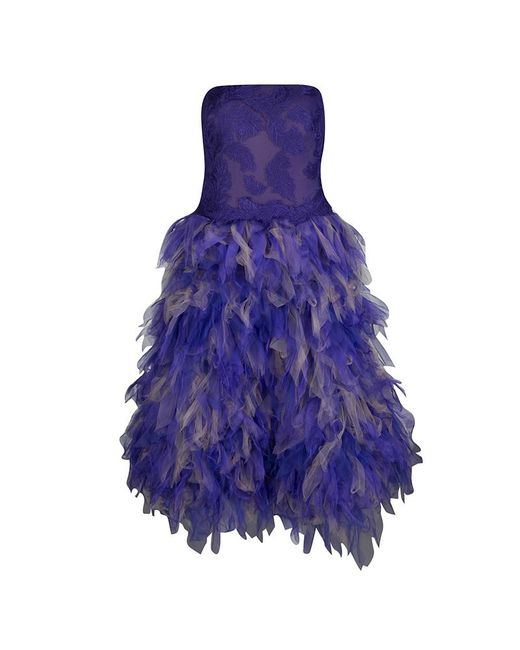 Tadashi Shoji Purple And Begie Tulle Embroidered Faux Feather Strapless Dress