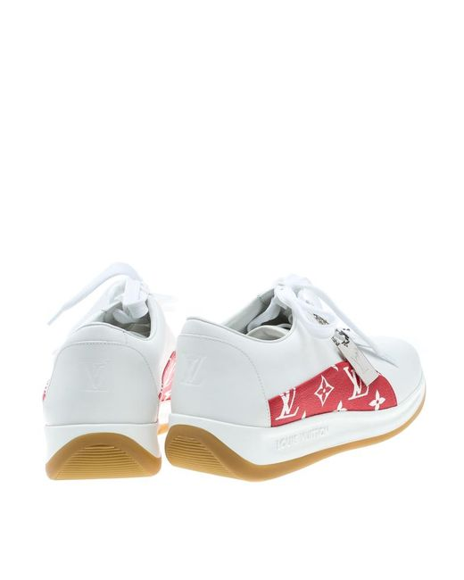 5cbc097c10d Men's X Supreme White Leather And Monogram Canvas Trim Sport Sneakers Size  42.5