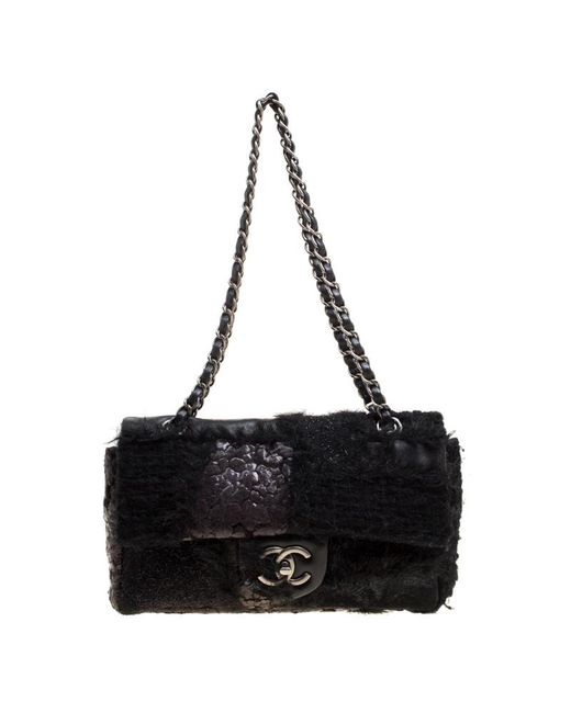 Chanel - Black Leather And Tweed With Fur Trim Flap Shoulder Bag - Lyst