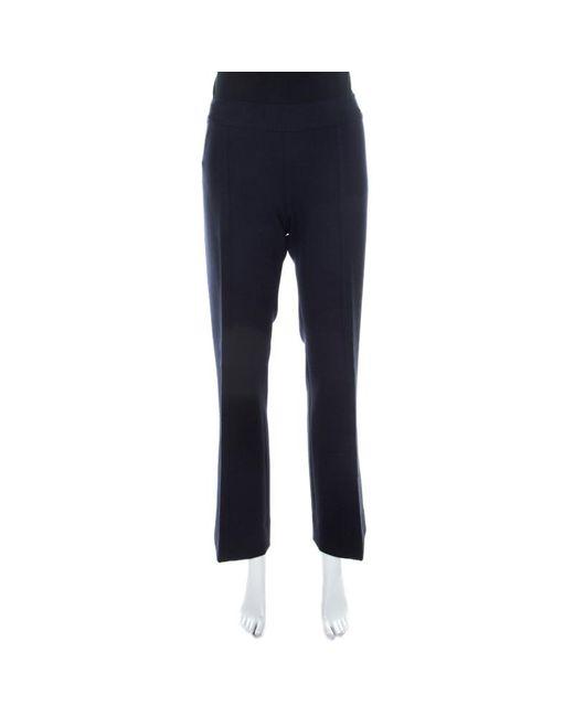 Tory Burch Navy Blue Wool Blend Straight Fit Callie Pants
