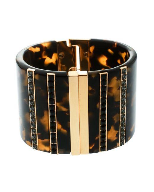 Etro Metallic Crystal Resin Gold Tone Wide Cuff Bracelet