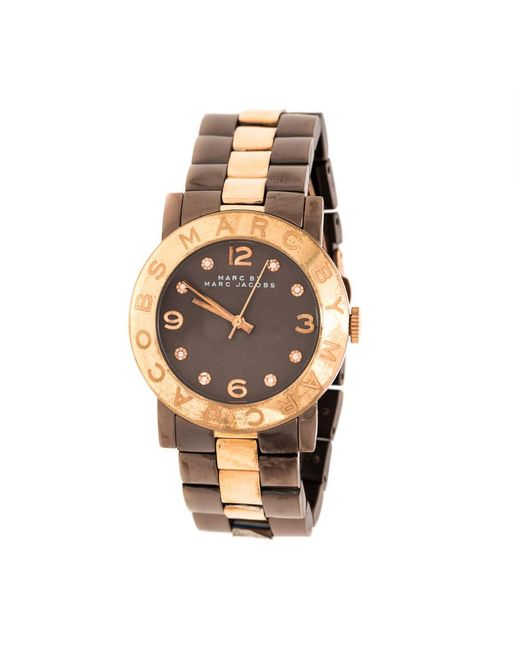 Marc By Marc Jacobs Metallic Brown Two-tone Stainless Steel Mbm3195 Women's Wristwatch 36 Mm