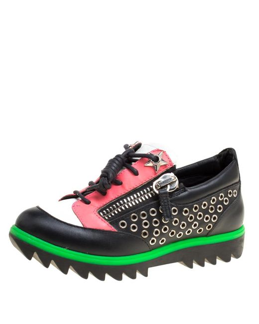 Giuseppe Zanotti - Multicolor Leather Stud Detail Lace Up Sneakers Size 36 - Lyst