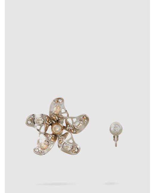Lanvin - Metallic Cutout Embellished Silver-tone Earrings - Lyst