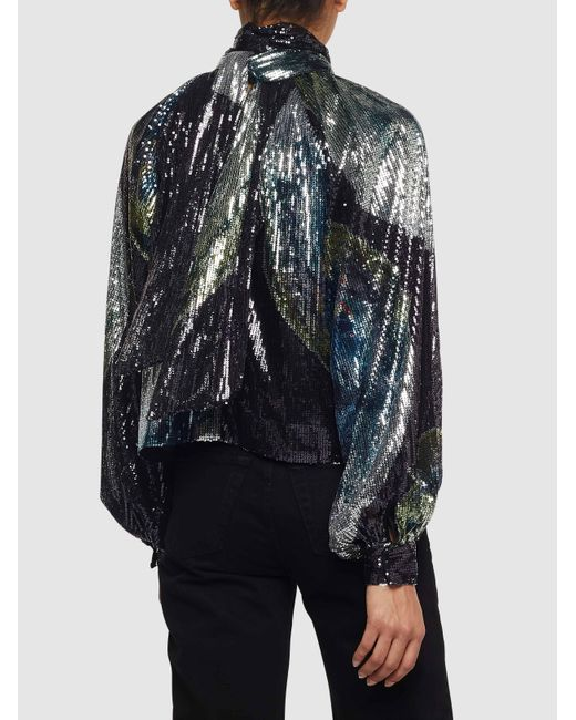 houkutteleva hinta laajat lajikkeet myymälä Women's Black Balloon Sleeve Nasa Print Sequin Top