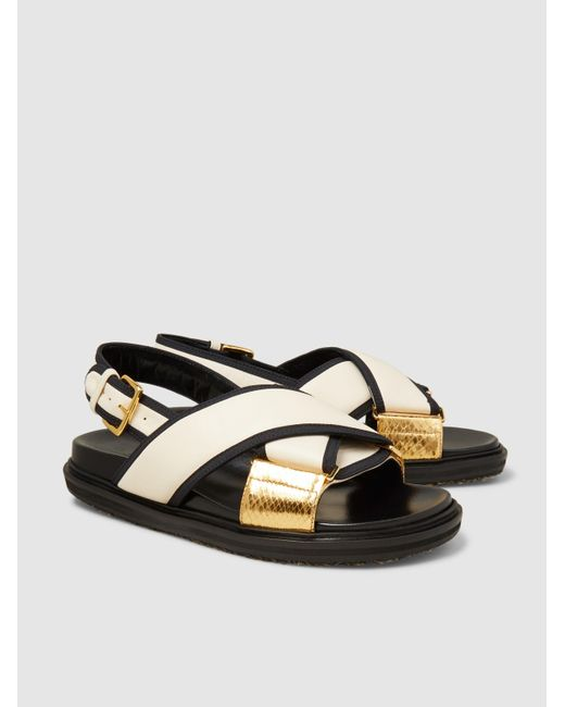 Marni Crossover Snake-Trimmed Leather Sandals