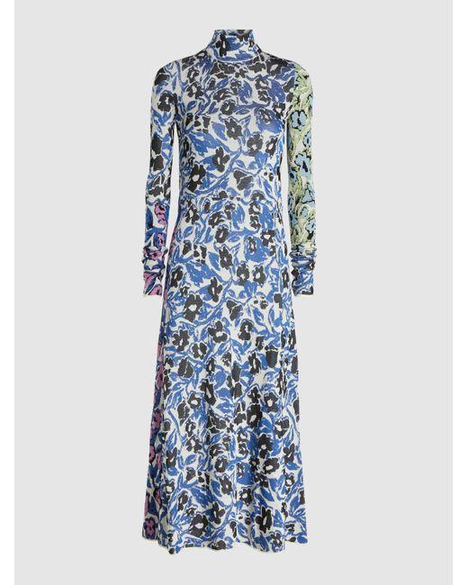 Christian Wijnants Blue Floral Print Intarsia Knit Midi Dress