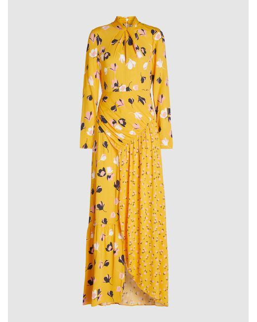 Self-Portrait Yellow Floral Print Crepe De Chine Maxi Dress